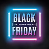 Plantilla negra del diseño de la venta de viernes Marco negro de la luz de viernes Fondo de neón que brilla intensamente Ilustrac imagen de archivo libre de regalías