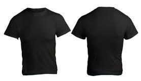 Plantilla negra en blanco de la camisa de los hombres Foto de archivo