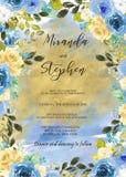 Plantilla negra y azul de la invitación de la boda de la acuarela Imagen de archivo
