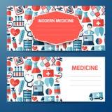 Plantilla o diseño de la cubierta con los elementos médicos Foto de archivo libre de regalías