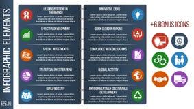 Plantilla o sitio gradual del folleto de Infographic con los iconos integrados stock de ilustración