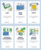 Plantilla onboarding de las pantallas del arte linear del sitio web del vector Iconos del asunto y de las finanzas Transferencia  stock de ilustración