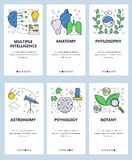 Plantilla onboarding de las pantallas del arte linear del sitio web del vector Temas de la escuela y de la ciencia, anatomía, phy libre illustration