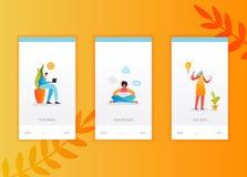 Plantilla onboarding de las pantallas del establecimiento de una red social libre illustration