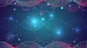 Plantilla, papel pintado o bandera de la ciencia con las moléculas de una DNA imagenes de archivo