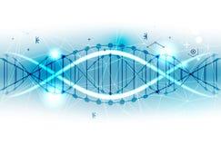 Plantilla, papel pintado o bandera de la ciencia con las moléculas de una DNA Vect