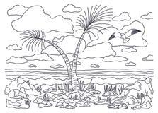 Plantilla para colorear Paisaje de la imagen que colorea con las palmeras y las gaviotas stock de ilustración