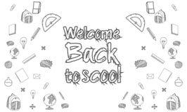 Plantilla para de nuevo a la escuela ilustración del vector