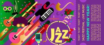 Plantilla para el boleto del festival de jazz con los instrumentos musicales Festival colorido de la música de jazz Mus de la Nav stock de ilustración