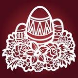 Plantilla para el corte del laser Huevos de Pascua Vector stock de ilustración