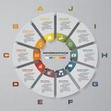 Plantilla para el diagrama, el gráfico, la presentación y la carta con 10 opciones, EPS10 Vector infographic ilustración del vector