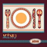 Plantilla para el diseño del menú en estilo étnico Foto de archivo libre de regalías
