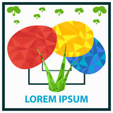 Plantilla para el logotipo El arbusto de los colores primarios Arbusto del polígono Imagenes de archivo