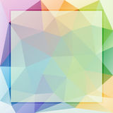 Plantilla para el texto con el fondo del triángulo, los colores lisos del arco iris y las fronteras brillantes Foto de archivo libre de regalías