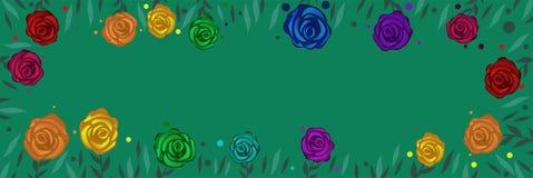 Plantilla para la bandera de la web con las rosas multicoloras Marco del vector de rosas y de hojas stock de ilustración