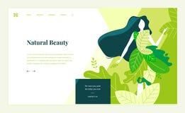 Plantilla para la belleza, balneario, salud, productos naturales, cosméticos, cuidado del cuerpo, vida sana del diseño de la pági