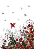 Plantilla para la estación y diseño de la Navidad, tarjetas de felicitación, invitaciones y decoraciones, color, hecho a mano Fra ilustración del vector