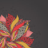 Plantilla para la tarjeta con la flor de la fantasía Ilustración del Vector