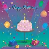 Plantilla para la tarjeta del feliz cumpleaños con la torta y el impulso Fotografía de archivo libre de regalías