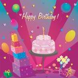 Plantilla para la tarjeta del feliz cumpleaños con la torta y el impulso Imagenes de archivo