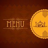 Plantilla para la tarjeta del menú con los cubiertos Fotos de archivo libres de regalías