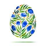 Plantilla para la tarjeta o la invitación de felicitación de Pascua ¡Pascua feliz! Huevo de los tulipanes de la flor de la acuare Imágenes de archivo libres de regalías