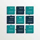 Plantilla para su presentación del negocio Ocho pasos diagram, las flechas de proceso, las opciones numeradas 3D ilustración del vector