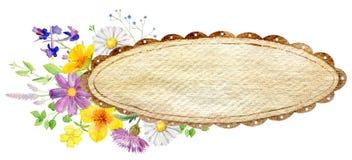 Plantilla pintada a mano del clipart de la maqueta de la acuarela de flores salvajes ilustración del vector