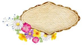 Plantilla pintada a mano del clipart de la maqueta de la acuarela de flores salvajes stock de ilustración