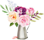 Plantilla pintada a mano del clipart de la maqueta de la acuarela de rosas libre illustration