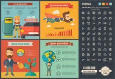 Plantilla plana de Infographic del diseño de la ecología Foto de archivo