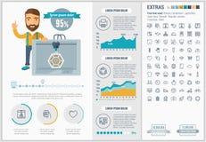 Plantilla plana de Infographic del diseño de la impresión tridimensional Fotografía de archivo