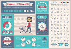 Plantilla plana de Infographic del diseño que hace compras Imágenes de archivo libres de regalías