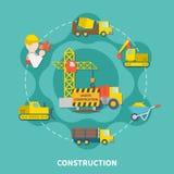 Plantilla plana de la construcción de edificios stock de ilustración