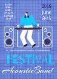 Plantilla plana de música de banda del cartel acústico del festival libre illustration
