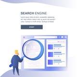 Plantilla plana del color del vector de la página web del Search Engine stock de ilustración