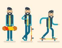 Plantilla plana del diseño del hombre de Scater del friki del inconformista del carácter de la bebida del café del icono del fond libre illustration