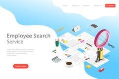 Plantilla plana isométrica de la página del aterrizaje del vector del servicio de búsqueda del empleado stock de ilustración
