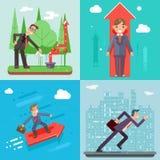 Plantilla plana profesional del web del diseño de Success Growth Icon Infographics del encargado de Characters Set Experienced de Foto de archivo libre de regalías