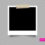 Plantilla polaroid del marco de la foto en el perno pegajoso de la cinta ilustración del vector