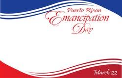 Plantilla puertorriqueña de la postal de la bandera del día de la emancipación Fotos de archivo libres de regalías