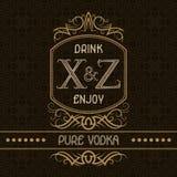 Plantilla pura del diseño de la etiqueta de la vodka Monograma modelado del vintage con el texto en fondo inconsútil del modelo libre illustration