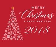 Plantilla que pone letras de la Feliz Navidad y de la Feliz Año Nuevo 2018 Tarjeta o invitación de felicitación Typograph relacio ilustración del vector