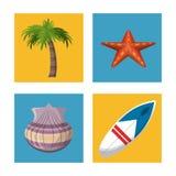 Plantilla que viaja del verano feliz con los accesorios del verano de la playa Foto de archivo libre de regalías