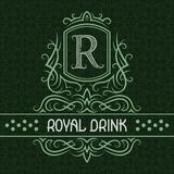 Plantilla real del diseño de la etiqueta de la bebida Monograma modelado del vintage con el texto en fondo inconsútil del modelo stock de ilustración