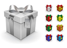 Plantilla realista de la caja de regalo Usted puede colorearlo, apenas para utilizar color de la caja de las capas, color del arc stock de ilustración