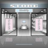 Plantilla realista del interior de la tienda o de la oficina Ejemplo del boutique con el escaparate, estantes, banderas Foto de archivo libre de regalías