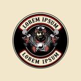 Plantilla redonda del logotipo del vector de la motocicleta del paseo del motorista del hombre stock de ilustración