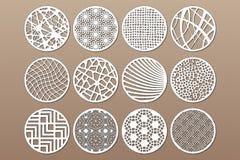 Plantilla redonda determinada para cortar Línea abstracta, modelo geométrico Corte del laser Fije el 1:2 del ratio Ilustración de ilustración del vector
