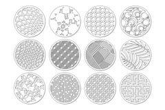 Plantilla redonda determinada para cortar Línea abstracta, modelo geométrico Corte del laser Fije el 1:2 del ratio Ilustración de stock de ilustración